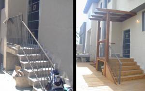 Деревянный пол с лестницей - до и после