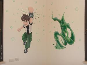 Бен 10 (Бен Теннисон) - мальчик с инопланетными часами и его супергерой - Желе. Настенная роспись в детской. Художник Флора.