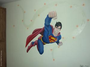 Супермен (Superman) - фантастический герой комиксов. Настенная роспись в детской. Художник Флора. Ашдод.