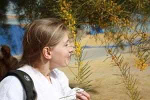 Туристка из России Наташа. Она словно солнечный лучик привезла тепло и согрела своим сердцем прохладные осенние дни. Наташа больше всего была в восторге от Иерусалима и Мертвого моря, где нашла даже мимозу)