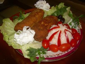 Котлеты по-киевски с рисом